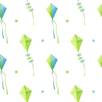Reticolo senza giunte dell'acquerello con aquiloni decorativi in volo nei colori verde e blu