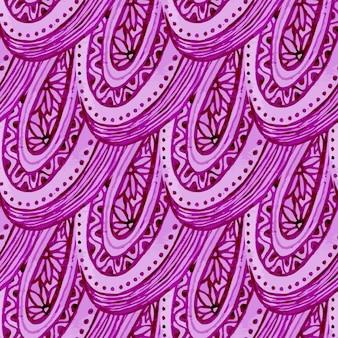 Modello senza soluzione di continuità acquerello con ornamento etnico rosa. illustrazione vettoriale disegnata a mano. imballaggio, tessile, tessuto o imballaggio.