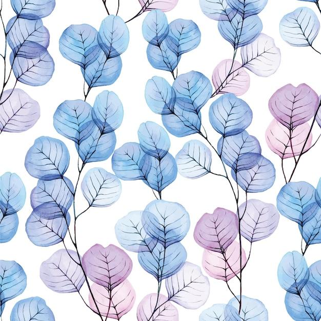 Modello senza cuciture acquerello con foglie di eucalipto trasparente colore blu e rosa