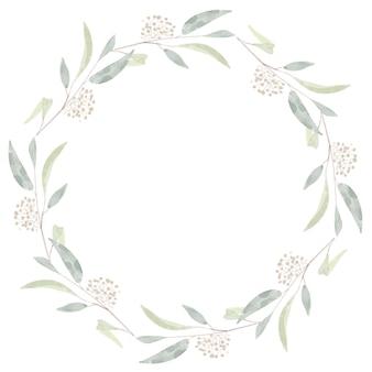 Cornice di corona di rami di foglie di eucalipto seminate ad acquerello