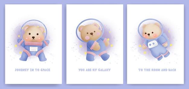 Acquerello set di biglietti di auguri per baby shower con un simpatico orsacchiotto nella galassia.