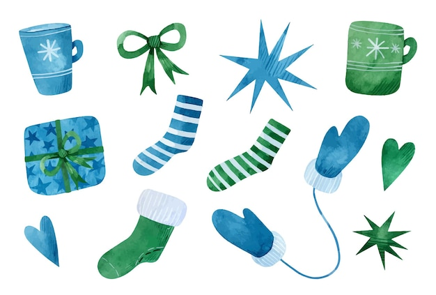Set acquerello di calzini natalizi blu e verdi tazze regali fiocchi cuori stelle e guanti