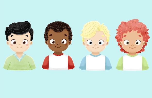 Insieme dell'acquerello di personaggi di ragazzi