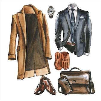 Acquerello set di abiti casual da lavoro, scarpe e borsa per uomo. illustrazione di abbigliamento aziendale. pittura disegnata a mano di look in stile ufficio. pack guardaroba