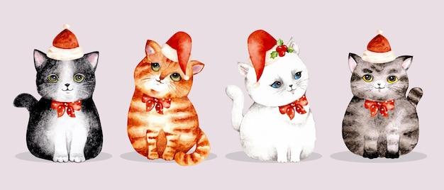 Set acquerello di gatto di natale