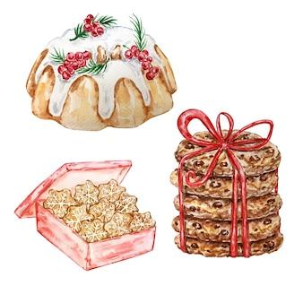 Insieme dell'acquerello di biscotti di panpepato di natale con gocce di cioccolato, torta di frutti di bosco e scatola con pan di zenzero.