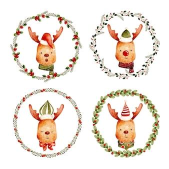 Set acquerello di ghirlanda di natale con dee