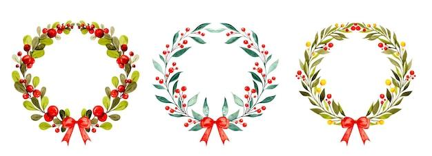 Set acquerello di ghirlande natalizie