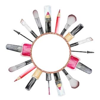 Insieme dell'acquerello di cosmetici in un cerchio smalto per unghie, pennelli, mascara, pennelli, matite