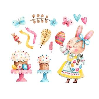 Insieme dell'acquerello della ragazza sveglia del coniglio di pasqua con pasticcini e uova colorate
