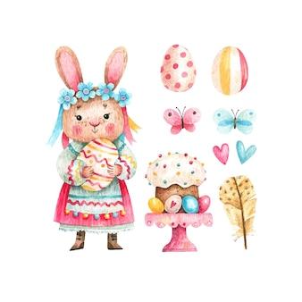 Insieme dell'acquerello del simpatico coniglio di pasqua con pasticcini uova colorate