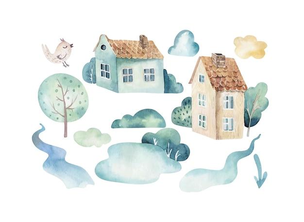 Set di acquerelli di una scena del cielo carina e fantasiosa completa di case sugli alberi delle nuvole della natura