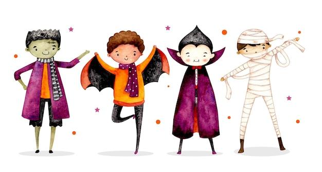 Set acquerello di un simpatico costume da personaggio di halloween