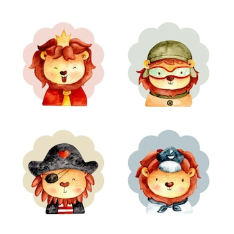 Set acquerello di faccia di leone carino