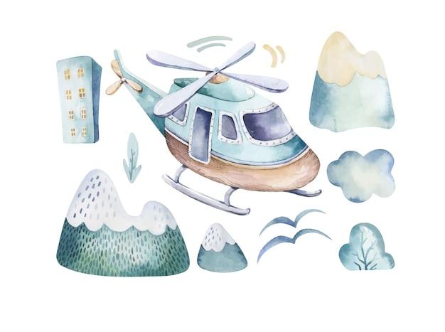 Set di acquerelli di una scena del cielo carina completa di natura di nuvole di elicottero