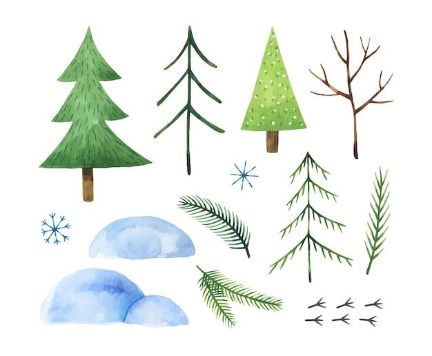 Acquerello set di abeti cumuli di neve rami fiocchi di neve e simpatiche tracce di uccelli