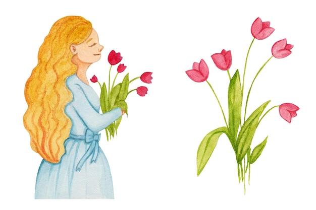 Ragazza stabilita dell'acquerello con un mazzo dei tulipani dei fiori