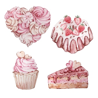 Insieme dell'acquerello di diversi dessert disegnati a mano a forma di cuore