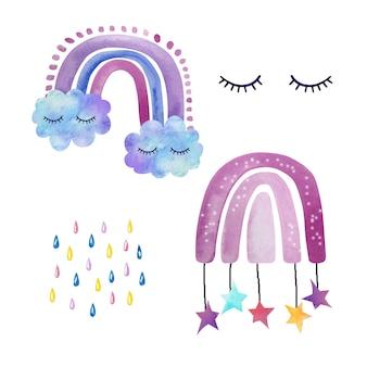 Set di acquerelli simpatici arcobaleni dipinti a mano con nuvole, ciglia e gocce di pioggia colorate.