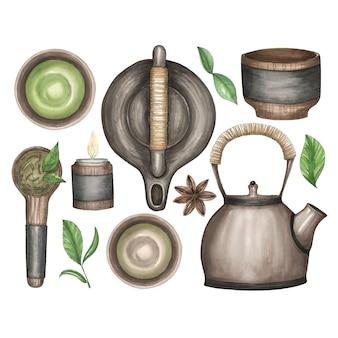 Insieme dell'acquerello delle illustrazioni per il tè cinese