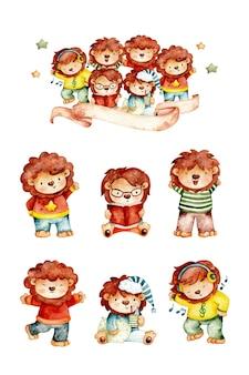 Set acquerello di leone e amici