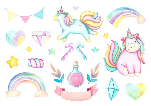Insieme dell'acquerello di unicorno rosa fumetto, arcobaleni, cristalli, nastro rosa, stelle gialle e rosa