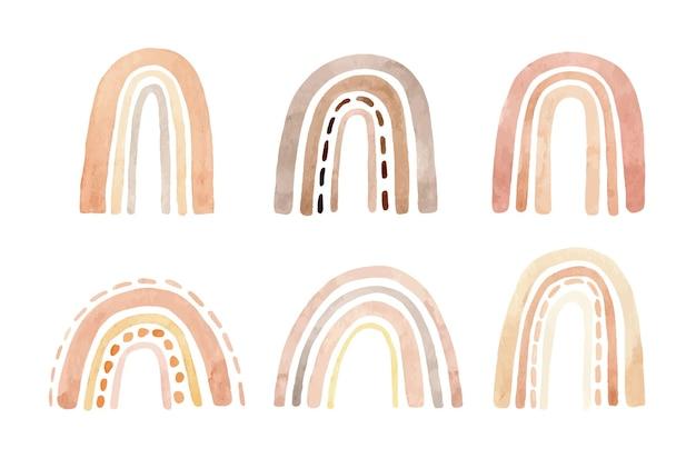 Insieme dell'acquerello di semplici arcobaleni carini in colori pastello con vari disegni.