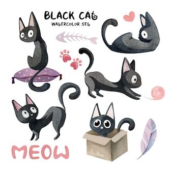 Set acquerelli con simpatici gatti neri