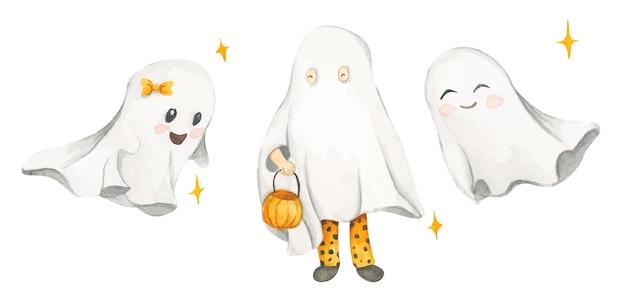 Set acquerelli con simpatici fantasmi costumi di halloween dolcetto o scherzetto
