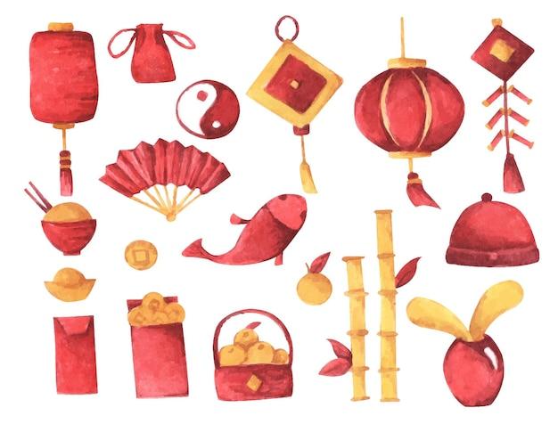 Insieme dell'acquerello con decorazioni cinesi tradizionali su sfondo bianco.