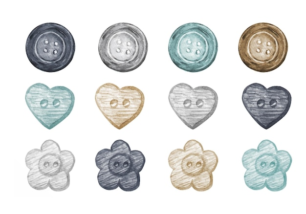 Collezione di bottoni da cucire ad acquerello in stile scandinavo.