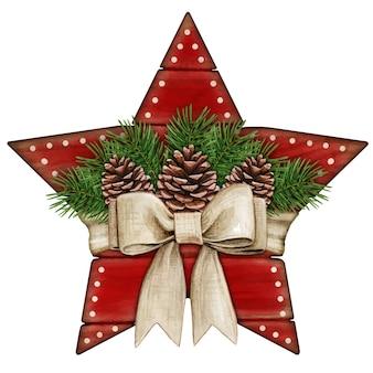 Etichetta stella in legno rosso rustico shabby chic dell'acquerello con fiocco e pigne