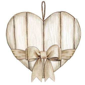 Cuore di legno bianco rustico shabby chic dell'acquerello con fiocco