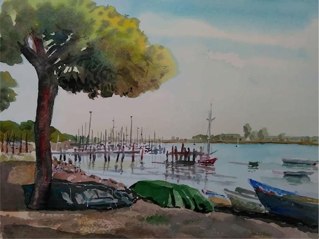 Illustrazione disegnata a mano del paesaggio della nave dell'acquerello