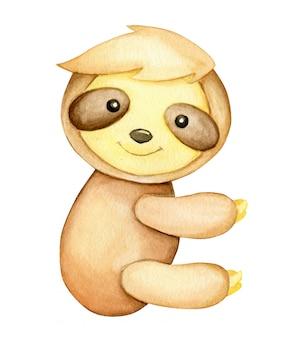 Singolo animale di bradipo dell'acquerello isolato su un'illustrazione bianca del fondo animale tropicale nello stile del fumetto