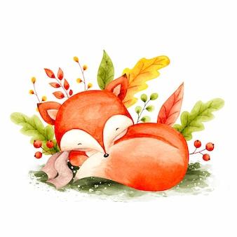 Volpe e foglie autunnali addormentate dell'acquerello