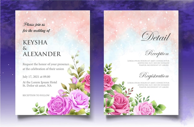 Carta di invito matrimonio floreale splash acquerello Vettore Premium