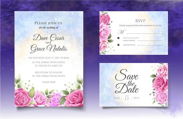 Carta di invito matrimonio floreale splash acquerello