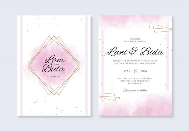 Spruzzi dell'acquerello e oro geometrico per un modello di invito a nozze