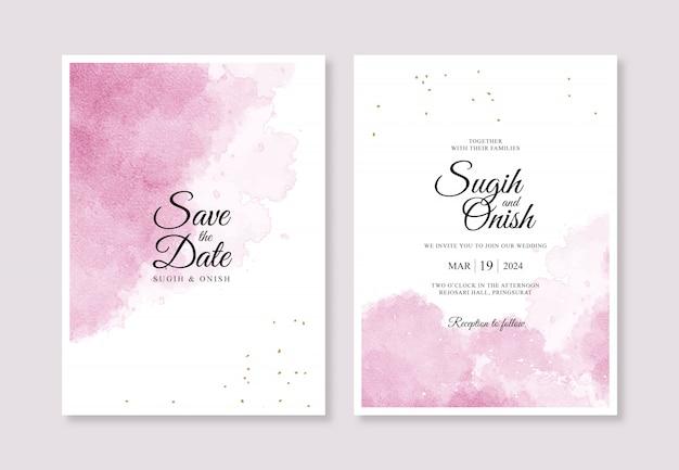 Schizzi ad acquerelli per modelli di invito di carte di nozze minimalisti