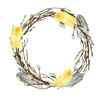 Corona di pasqua di primavera dell'acquerello. ramo di albero disegnato a mano con piume, uova, foglie, illustrazione cornice di salice.