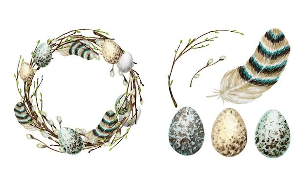 Insieme della corona di pasqua di primavera dell'acquerello.