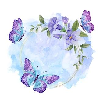 Cornice floreale primaverile ad acquerello con deliziose farfalle
