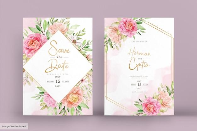 Set di carte invito floreale primavera acquerello