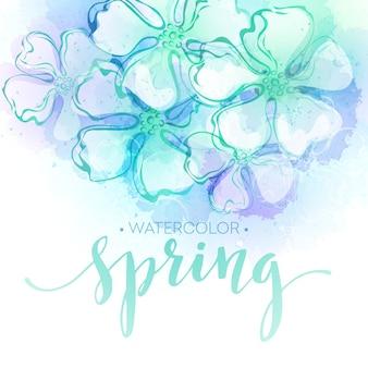 Priorità bassa del fiore di primavera dell'acquerello. illustrazione