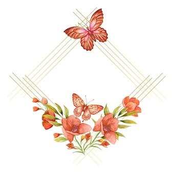 Cornice di fiori primaverili ad acquerello con farfalla