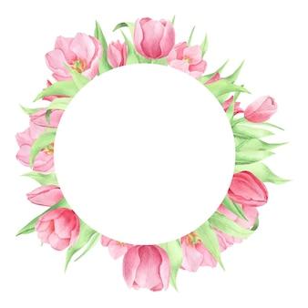 Fiori primaverili dell'acquerello sulla cornice rotonda sfondo bianco corona floreale di tulipani
