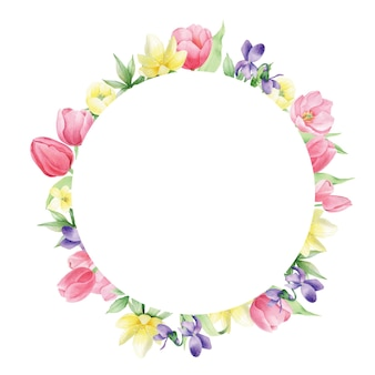 Fiori primaverili dell'acquerello su fondo bianco, cornice rotonda. corona floreale