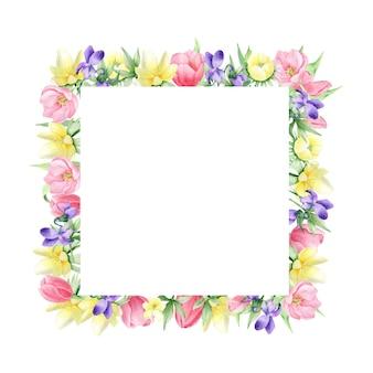Fiori primaverili ad acquerello su sfondo bianco, cornice quadrata