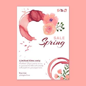 Modello di volantino di primavera dell'acquerello